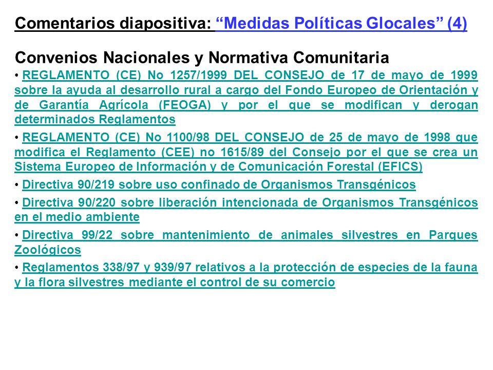 Comentarios diapositiva: Medidas Políticas Glocales (4) Convenios Nacionales y Normativa Comunitaria REGLAMENTO (CE) No 1257/1999 DEL CONSEJO de 17 de