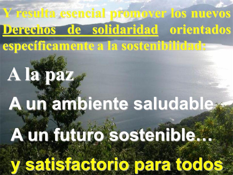 Y resulta esencial promover los nuevos Derechos de solidaridad orientados específicamente a la sostenibilidad: A la paz A un ambiente saludable A un f