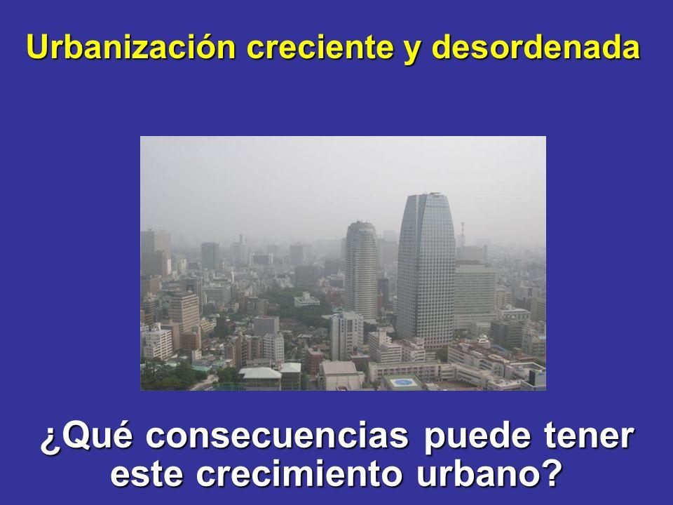 ¿Qué consecuencias puede tener este crecimiento urbano? Urbanización creciente y desordenada
