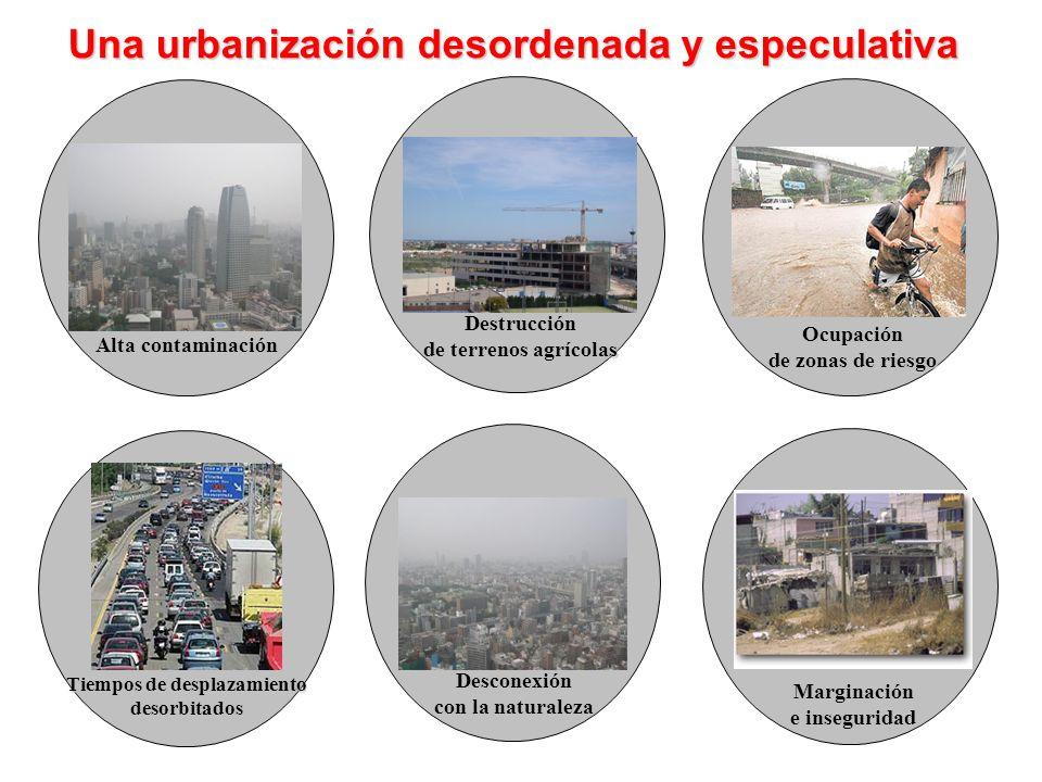 Una urbanización desordenada y especulativa Alta contaminación Destrucción de terrenos agrícolas Ocupación de zonas de riesgo Tiempos de desplazamient