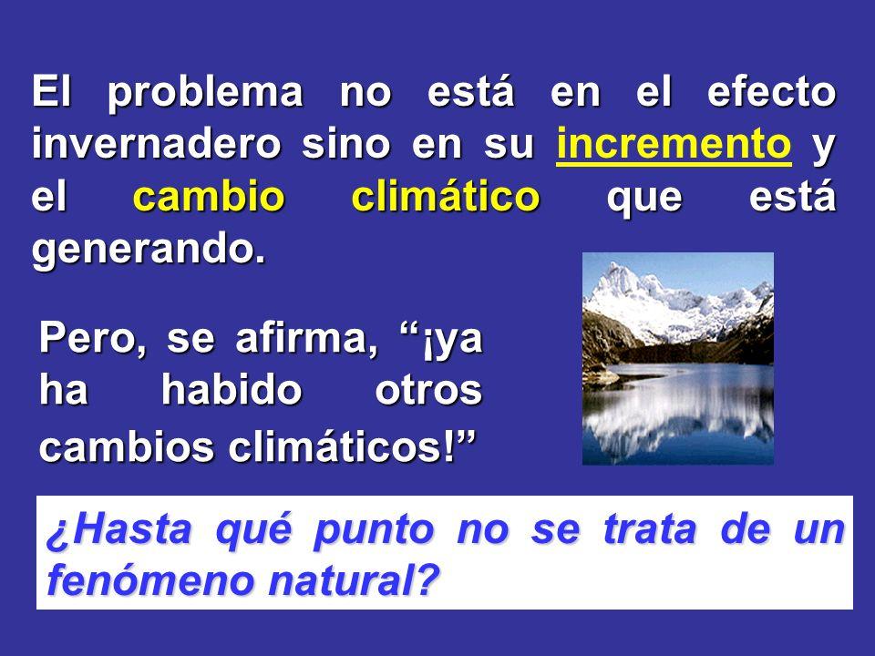 El problema no está en el efecto invernadero sino en su y el cambio climático que está generando. El problema no está en el efecto invernadero sino en