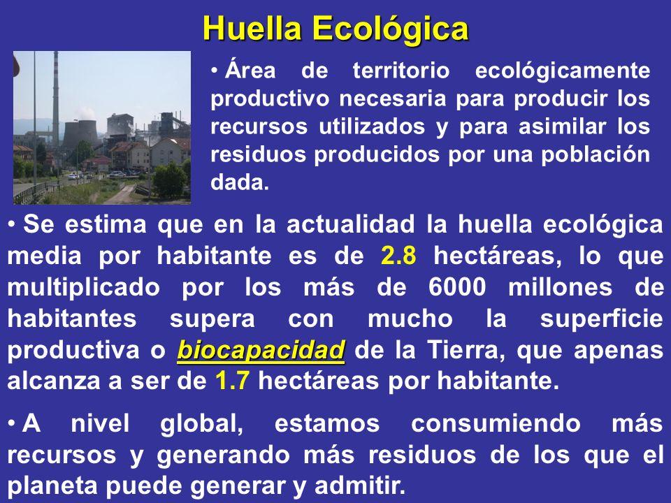 Huella Ecológica Área de territorio ecológicamente productivo necesaria para producir los recursos utilizados y para asimilar los residuos producidos
