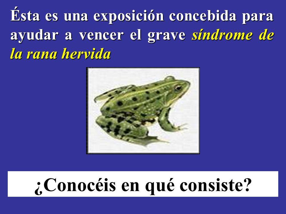 Ésta es una exposición concebida para ayudar a vencer el grave síndrome de la rana hervida ¿Conocéis en qué consiste?