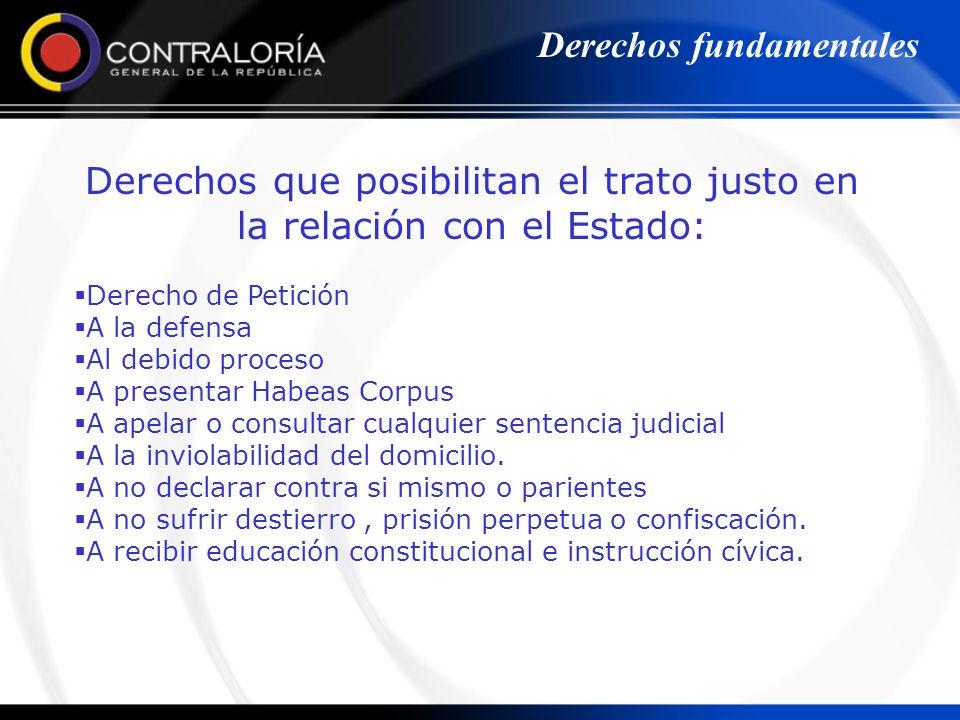 Derechos que posibilitan el trato justo en la relación con el Estado: Derecho de Petición A la defensa Al debido proceso A presentar Habeas Corpus A a