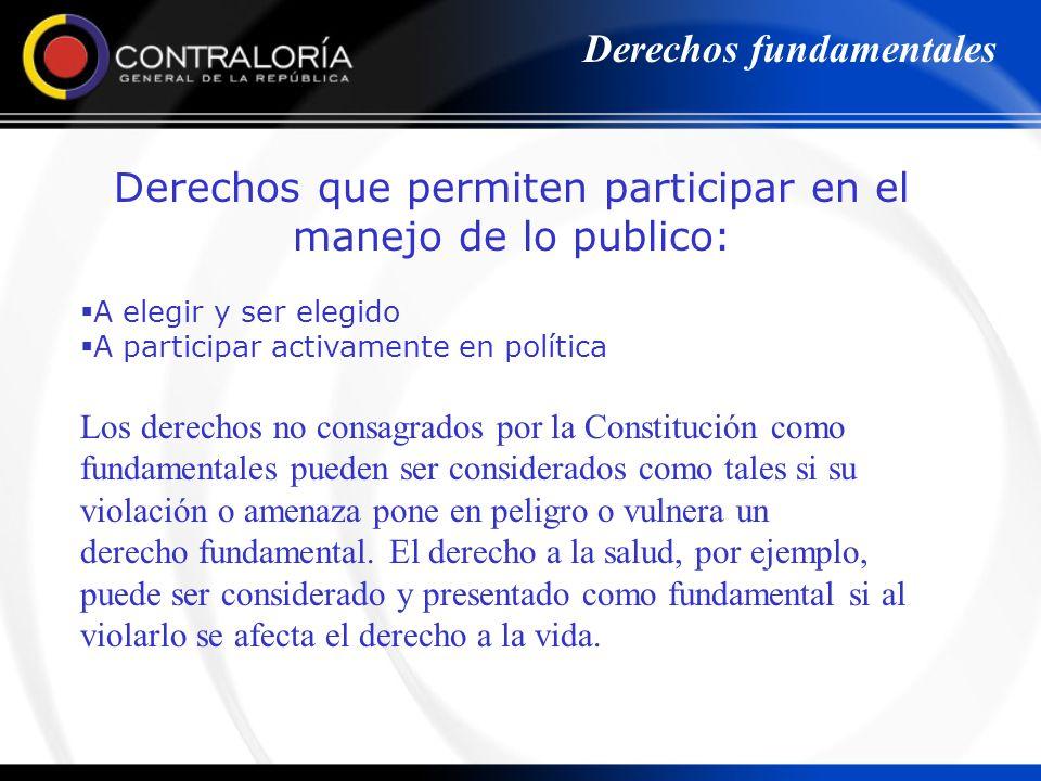 Derechos que permiten participar en el manejo de lo publico: A elegir y ser elegido A participar activamente en política Derechos fundamentales Los de