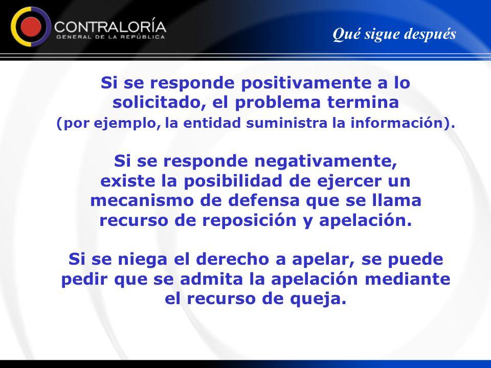 Si se responde positivamente a lo solicitado, el problema termina (por ejemplo, la entidad suministra la información). Si se responde negativamente, e