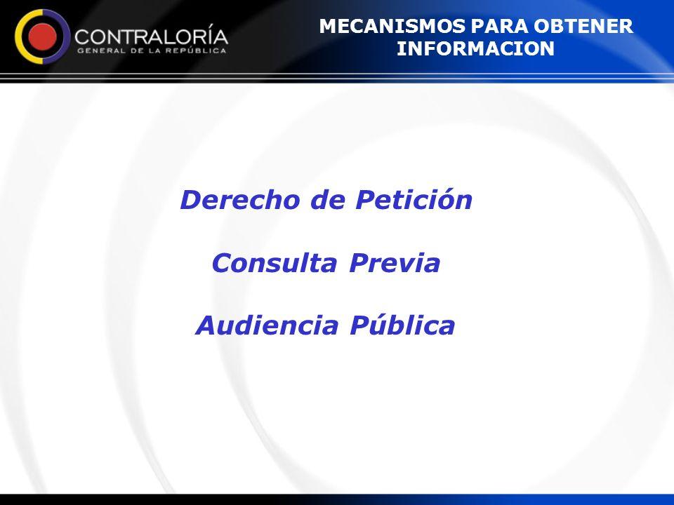 MECANISMOS PARA OBTENER INFORMACION Derecho de Petición Consulta Previa Audiencia Pública