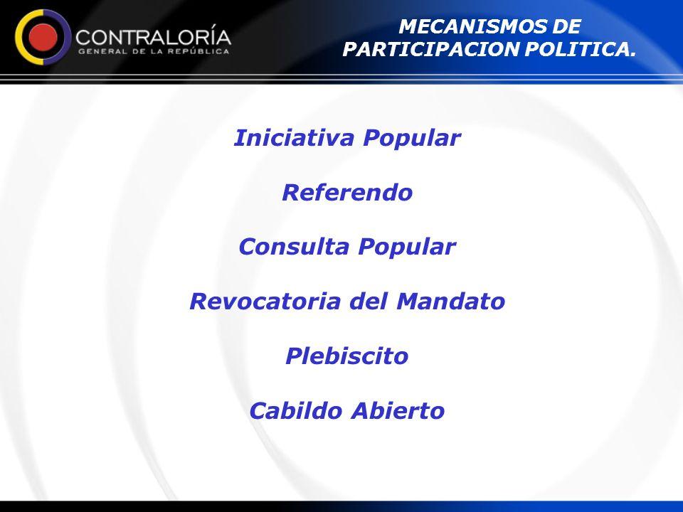 MECANISMOS DE PARTICIPACION POLITICA. Iniciativa Popular Referendo Consulta Popular Revocatoria del Mandato Plebiscito Cabildo Abierto