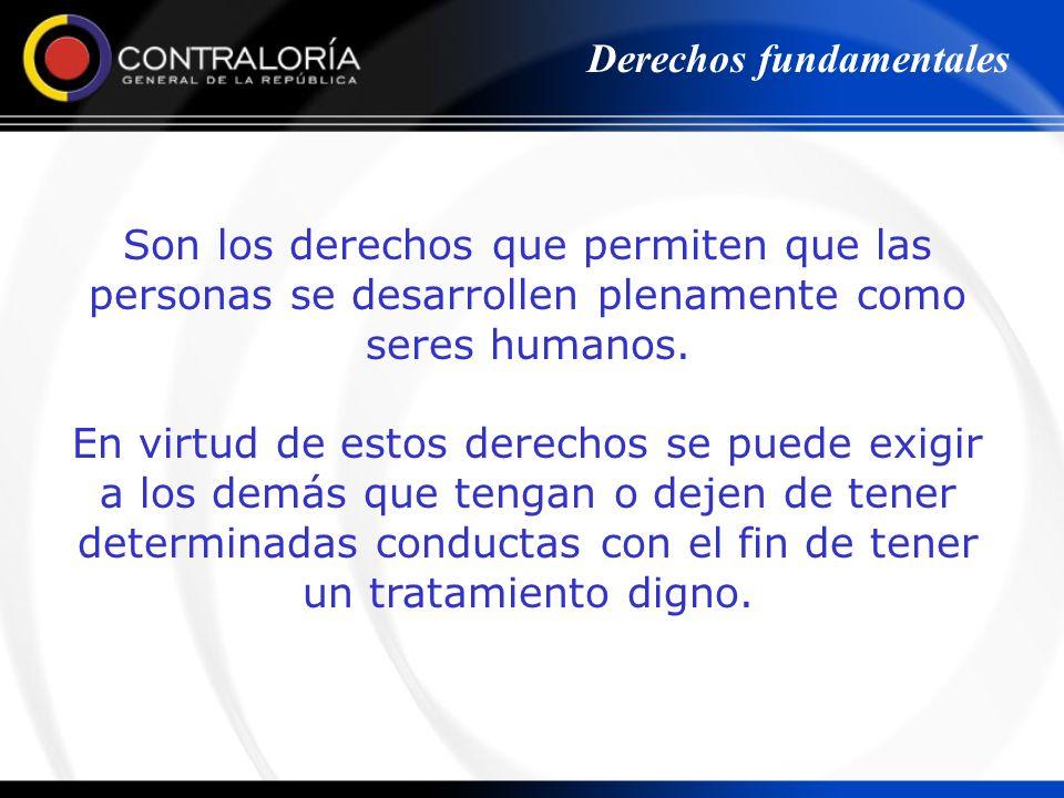 Son los derechos que permiten que las personas se desarrollen plenamente como seres humanos. En virtud de estos derechos se puede exigir a los demás q