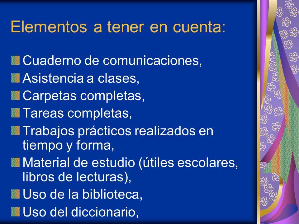 Elementos a tener en cuenta: Cuaderno de comunicaciones, Asistencia a clases, Carpetas completas, Tareas completas, Trabajos prácticos realizados en t