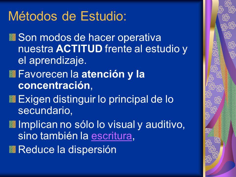 Métodos de Estudio: Son modos de hacer operativa nuestra ACTITUD frente al estudio y el aprendizaje. Favorecen la atención y la concentración, Exigen