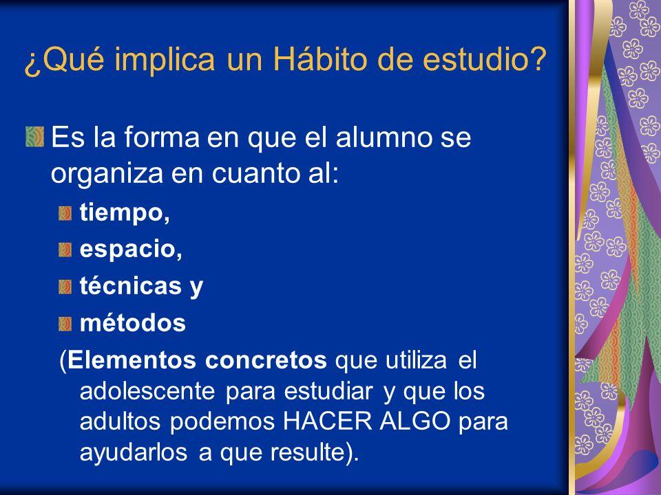 Formación del Hábito de estudio: Para la formación de hábitos de estudio es evidente que la ejercitación es necesario; pero la práctica no solamente conduce el aprendizaje.