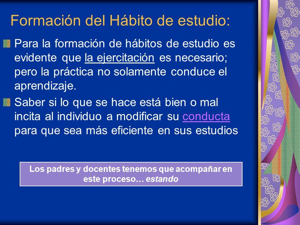 Formación del Hábito de estudio: Para la formación de hábitos de estudio es evidente que la ejercitación es necesario; pero la práctica no solamente c