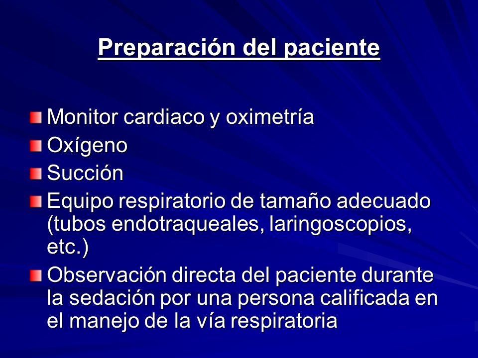 Preparación del paciente Monitor cardiaco y oximetría OxígenoSucción Equipo respiratorio de tamaño adecuado (tubos endotraqueales, laringoscopios, etc