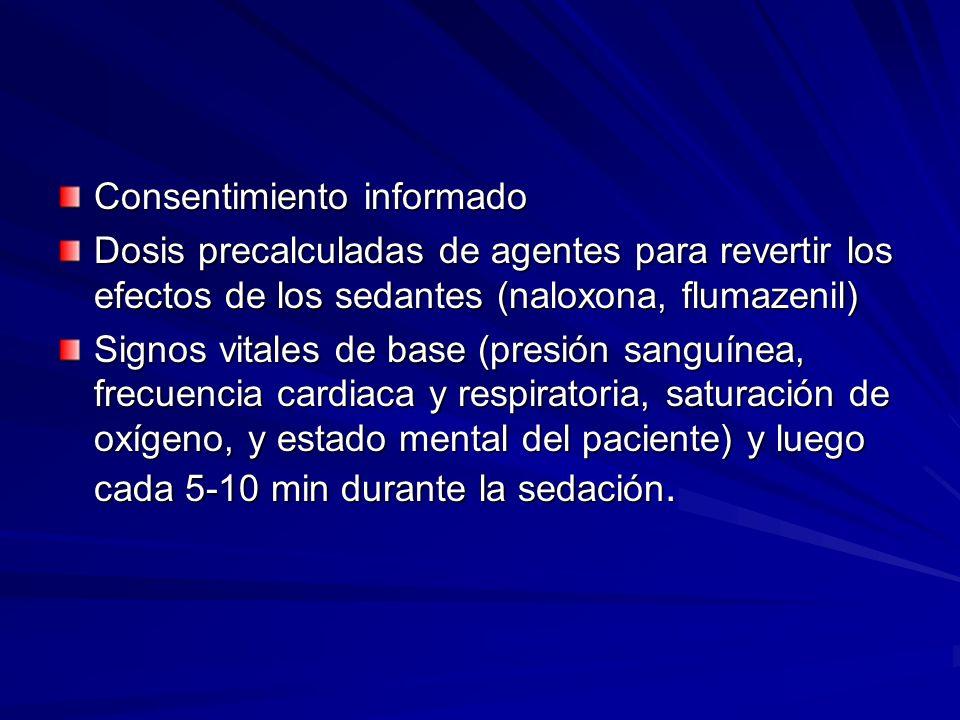 Consentimiento informado Dosis precalculadas de agentes para revertir los efectos de los sedantes (naloxona, flumazenil) Signos vitales de base (presi