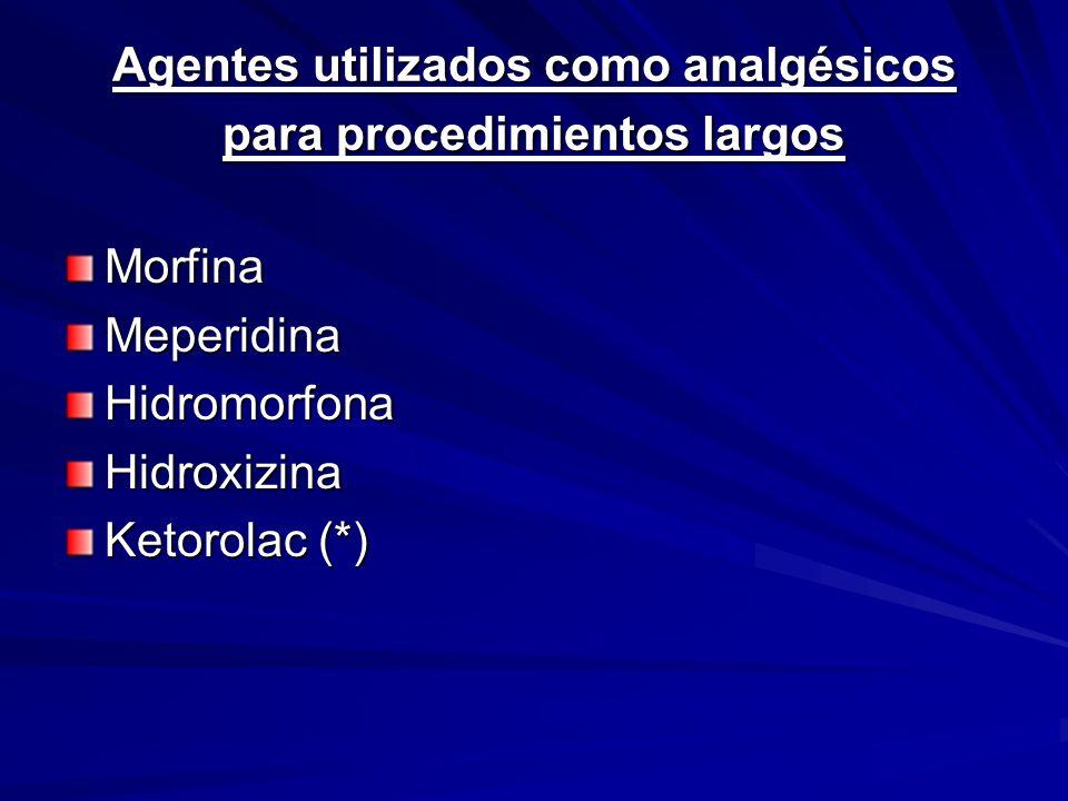 Agentes utilizados como analgésicos para procedimientos largos MorfinaMeperidinaHidromorfonaHidroxizina Ketorolac (*)