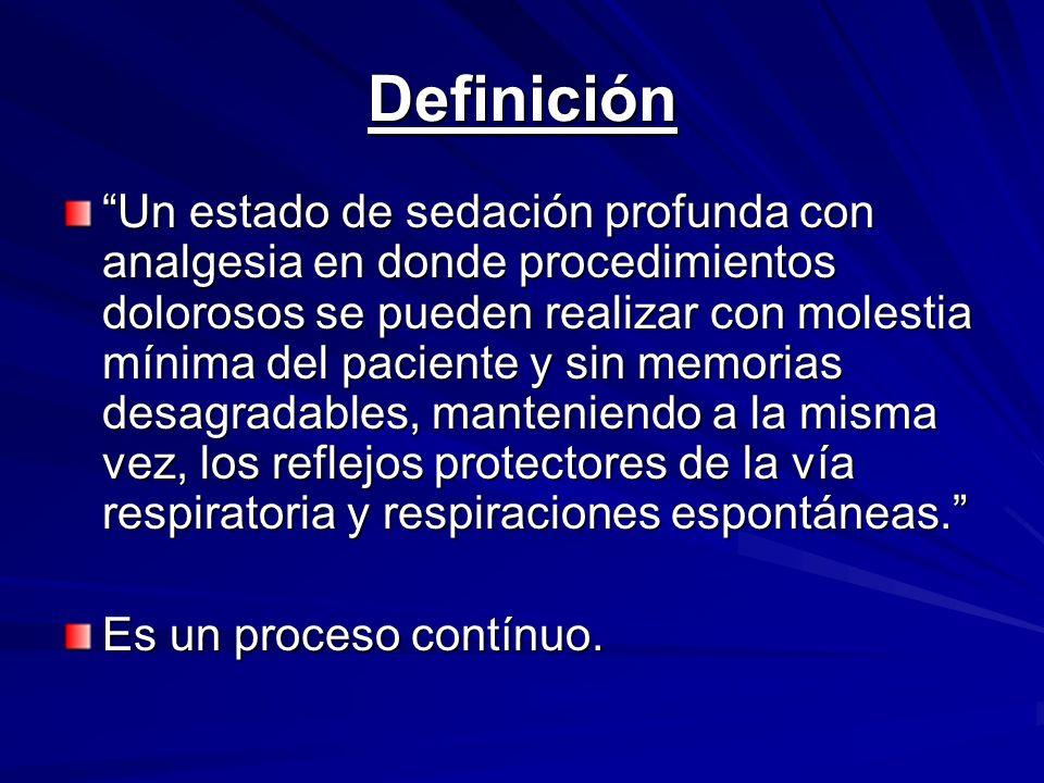 Definición Un estado de sedación profunda con analgesia en donde procedimientos dolorosos se pueden realizar con molestia mínima del paciente y sin me