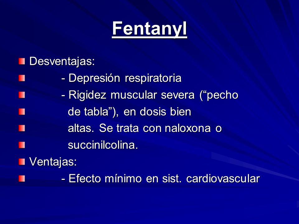 Fentanyl Desventajas: - Depresión respiratoria - Depresión respiratoria - Rigidez muscular severa (pecho - Rigidez muscular severa (pecho de tabla), e