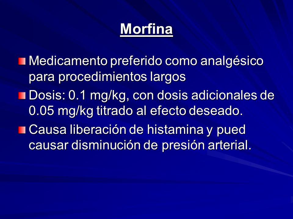 Morfina Medicamento preferido como analgésico para procedimientos largos Dosis: 0.1 mg/kg, con dosis adicionales de 0.05 mg/kg titrado al efecto desea