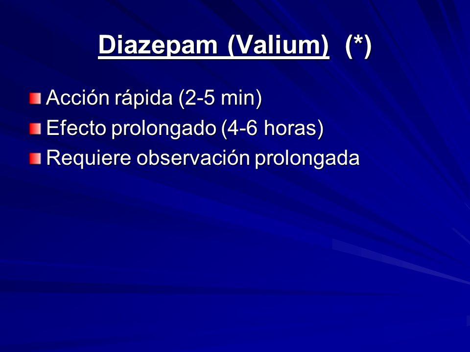Diazepam (Valium) (*) Acción rápida (2-5 min) Efecto prolongado (4-6 horas) Requiere observación prolongada