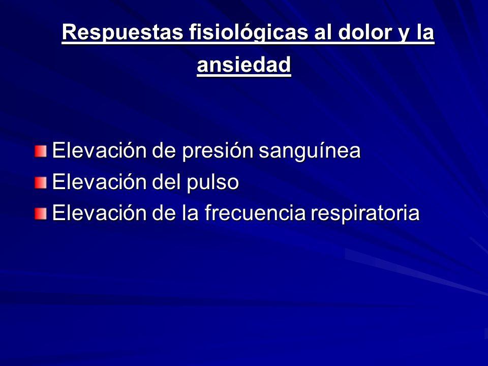 Respuestas fisiológicas al dolor y la ansiedad Respuestas fisiológicas al dolor y la ansiedad Elevación de presión sanguínea Elevación del pulso Eleva