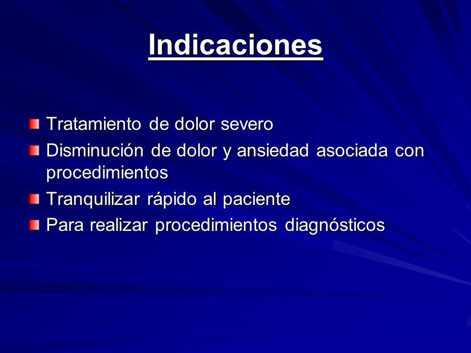 Propofol (*) Bolo: 2.0 a 2.5 mcg/kg Infusión contínua de 25 mcg/kg/min Dosis de mantenimiento 3 a 6 mcg/kg/hr hasta que se termine el procedimiento Desventajas: - Asociado con hipotensión (administrar - Asociado con hipotensión (administrar ´ despacio) - Quema al inyectarlo (premeditar con - Quema al inyectarlo (premeditar con lidocaina) lidocaina) - Uso en niños es controversial - Uso en niños es controversial