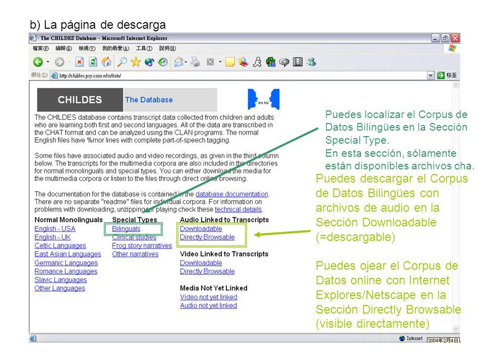 b) La página de descarga Puedes localizar el Corpus de Datos Bilingües en la Sección Special Type. En esta sección, sólamente están disponibles archiv