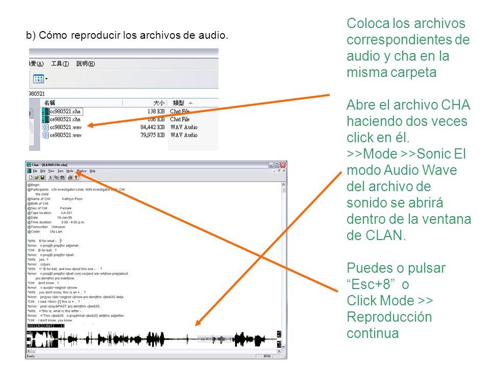 Coloca los archivos correspondientes de audio y cha en la misma carpeta Abre el archivo CHA haciendo dos veces click en él. >>Mode >>Sonic El modo Aud