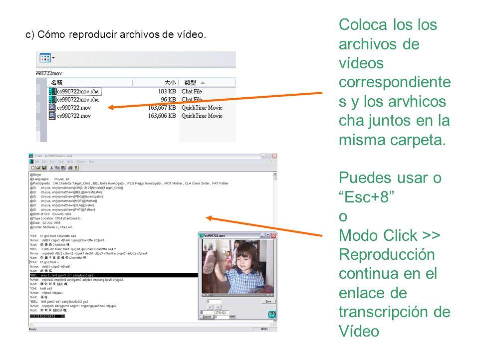 Coloca los los archivos de vídeos correspondiente s y los arvhicos cha juntos en la misma carpeta. Puedes usar o Esc+8 o Modo Click >> Reproducción co