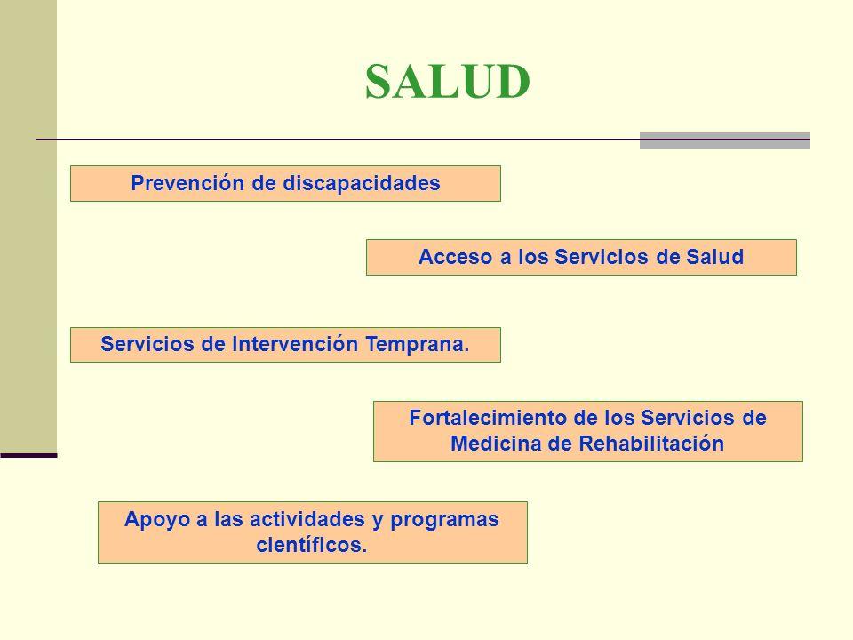 SALUD Prevención de discapacidades Apoyo a las actividades y programas científicos. Acceso a los Servicios de Salud Fortalecimiento de los Servicios d