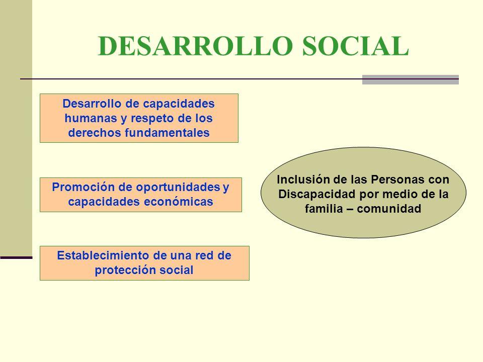 DESARROLLO SOCIAL Desarrollo de capacidades humanas y respeto de los derechos fundamentales Promoción de oportunidades y capacidades económicas Inclus