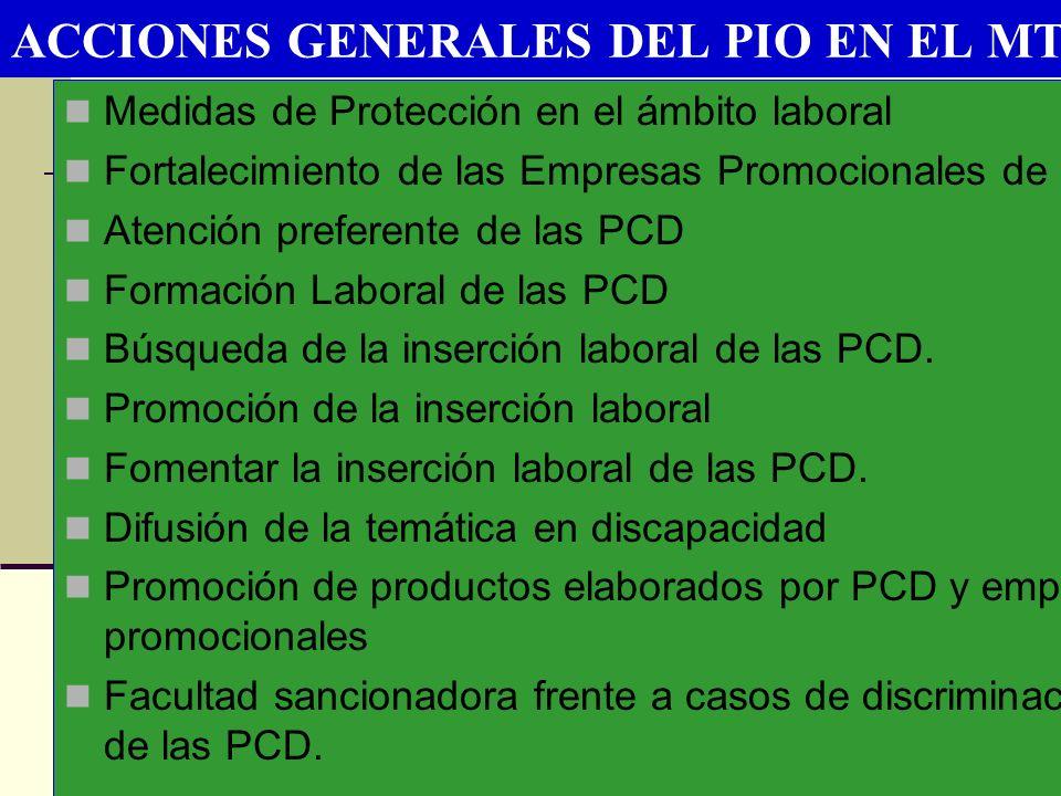 ACCIONES GENERALES DEL PIO EN EL MTPE Medidas de Protección en el ámbito laboral Fortalecimiento de las Empresas Promocionales de PCD Atención prefere