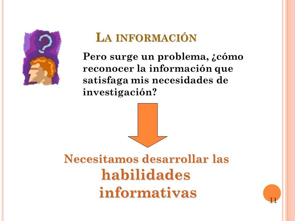 L A INFORMACIÓN Pero surge un problema, ¿cómo reconocer la información que satisfaga mis necesidades de investigación? Necesitamos desarrollar las hab