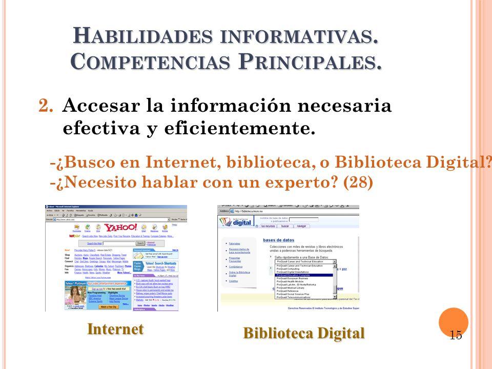 H ABILIDADES INFORMATIVAS. C OMPETENCIAS P RINCIPALES. 2.Accesar la información necesaria efectiva y eficientemente. -¿Busco en Internet, biblioteca,