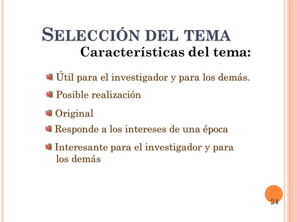 S ELECCIÓN DEL TEMA Características del tema: Interesante para el investigador y para Interesante para el investigador y para los demás los demás Posi