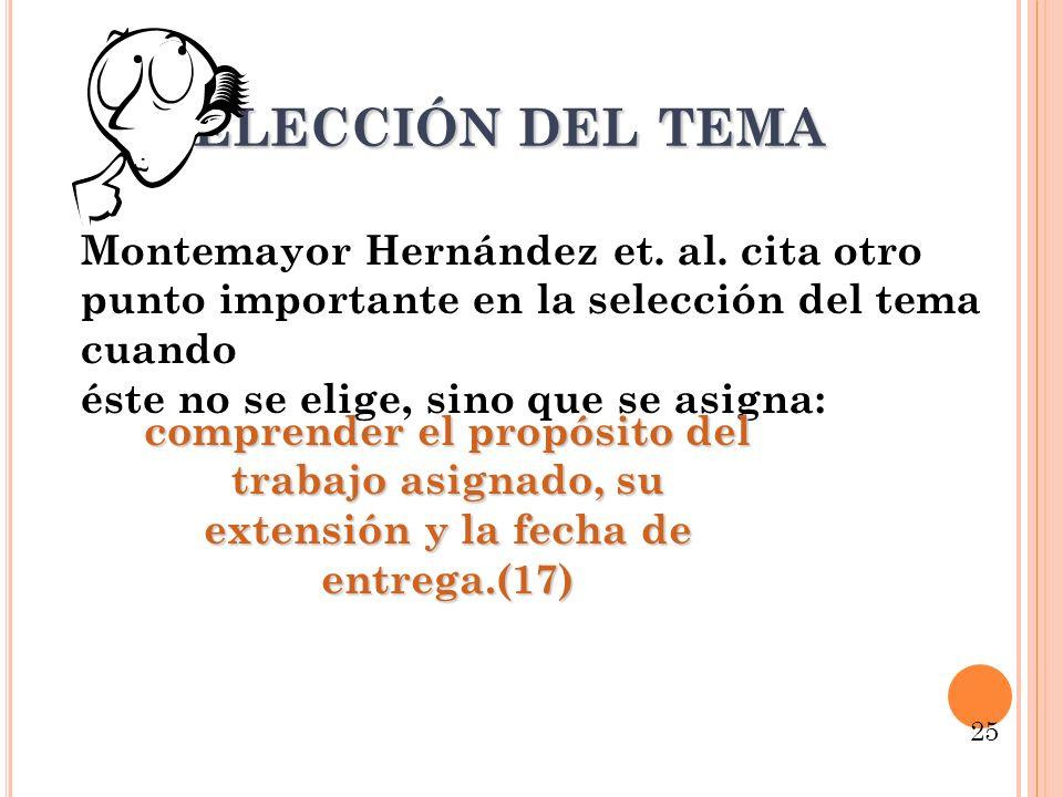 S ELECCIÓN DEL TEMA Montemayor Hernández et. al. cita otro punto importante en la selección del tema cuando éste no se elige, sino que se asigna: comp