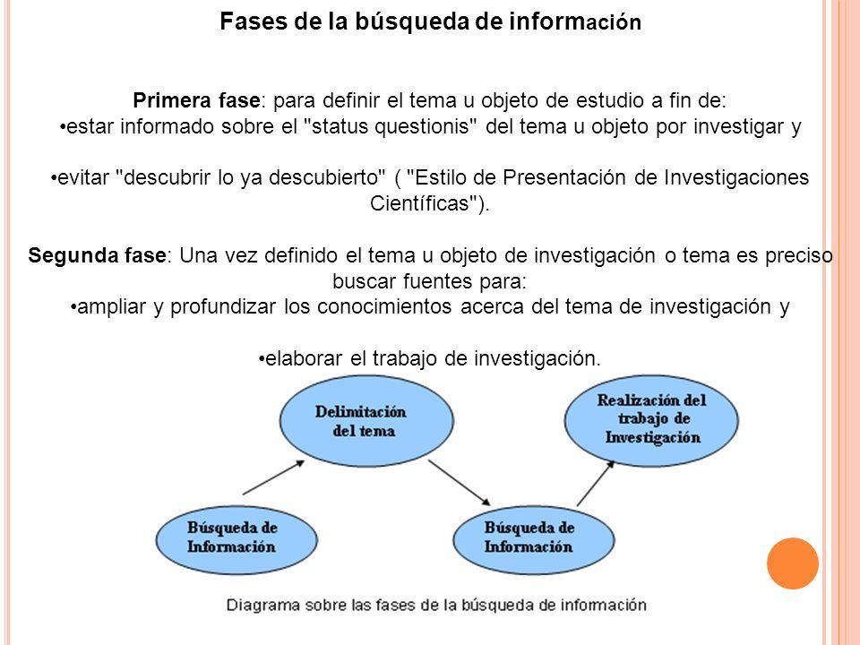 Fases de la búsqueda de inform ación Primera fase: para definir el tema u objeto de estudio a fin de: estar informado sobre el
