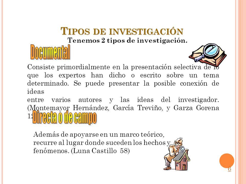 T IPOS DE INVESTIGACIÓN Consiste primordialmente en la presentación selectiva de lo que los expertos han dicho o escrito sobre un tema determinado. Se