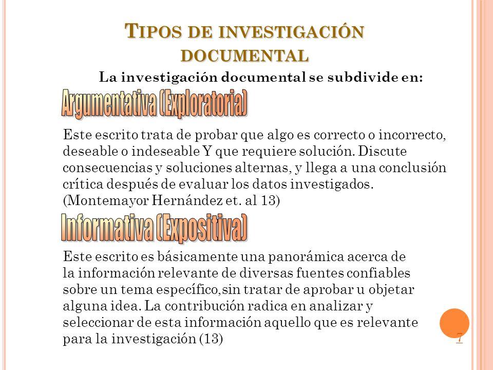 T IPOS DE INVESTIGACIÓN DOCUMENTAL La investigación documental se subdivide en: Este escrito trata de probar que algo es correcto o incorrecto, deseab
