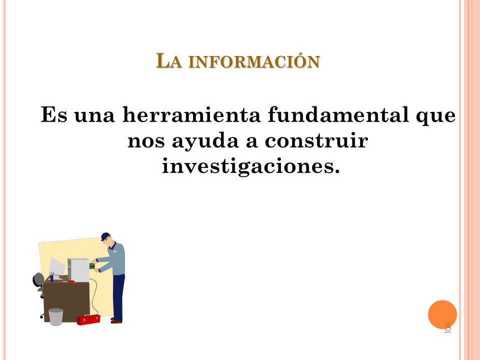 La información que necesitamos para llevar a cabo una investigación documental se encuentra en las: Fuentes de información documental 19