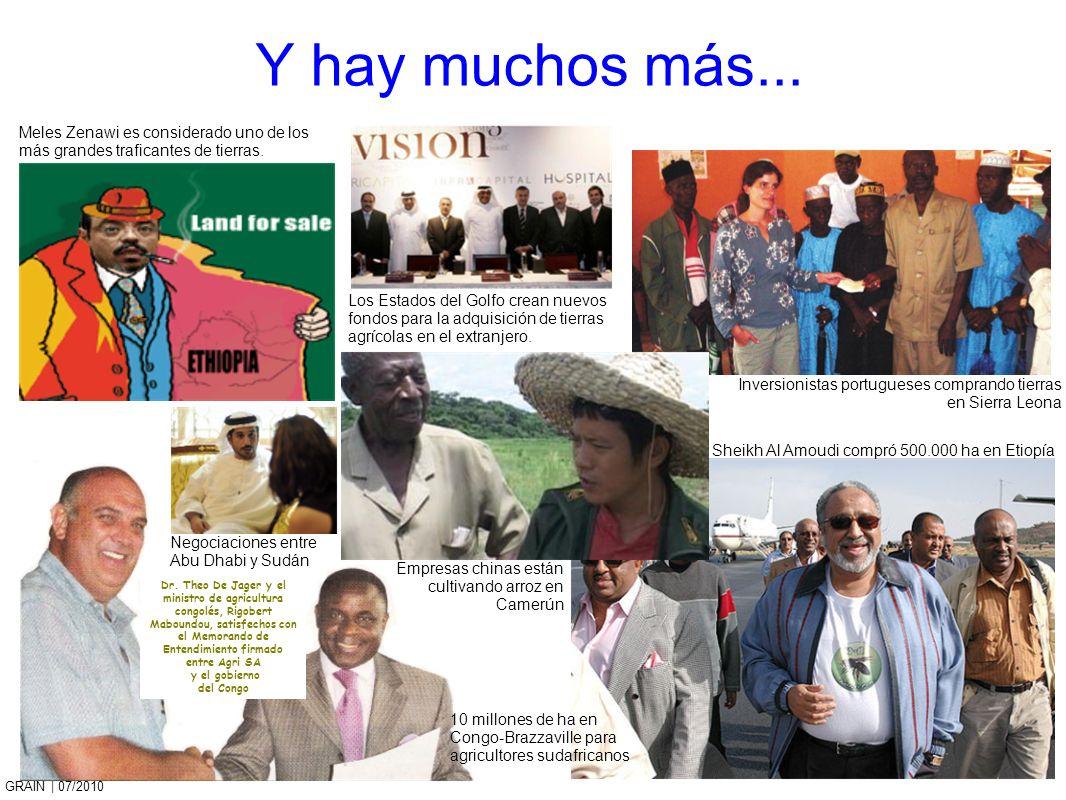 GRAIN   07/2010 Y hay muchos más... Meles Zenawi es considerado uno de los más grandes traficantes de tierras. Negociaciones entre Abu Dhabi y Sudán E