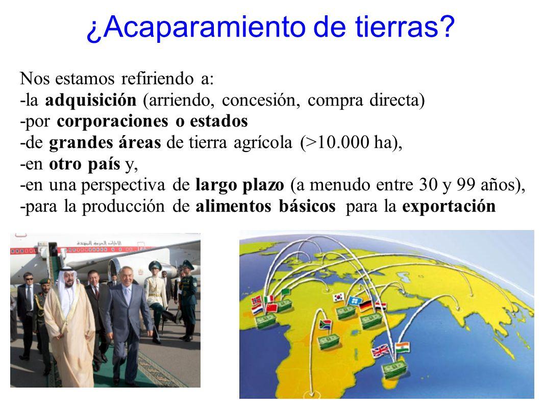 ¿Acaparamiento de tierras? Nos estamos refiriendo a: -la adquisición (arriendo, concesión, compra directa) -por corporaciones o estados -de grandes ár