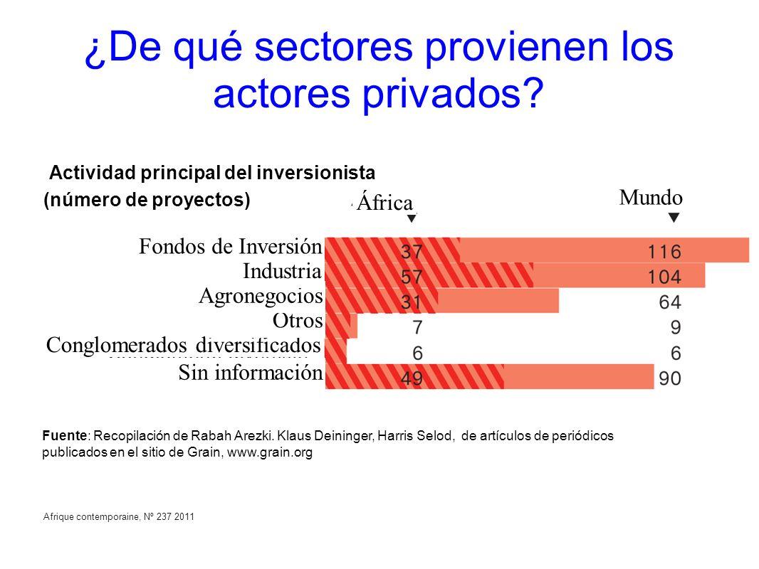 Afrique contemporaine, Nº 237 2011 ¿De qué sectores provienen los actores privados? (número de proyectos) Actividad principal del inversionista Fondos