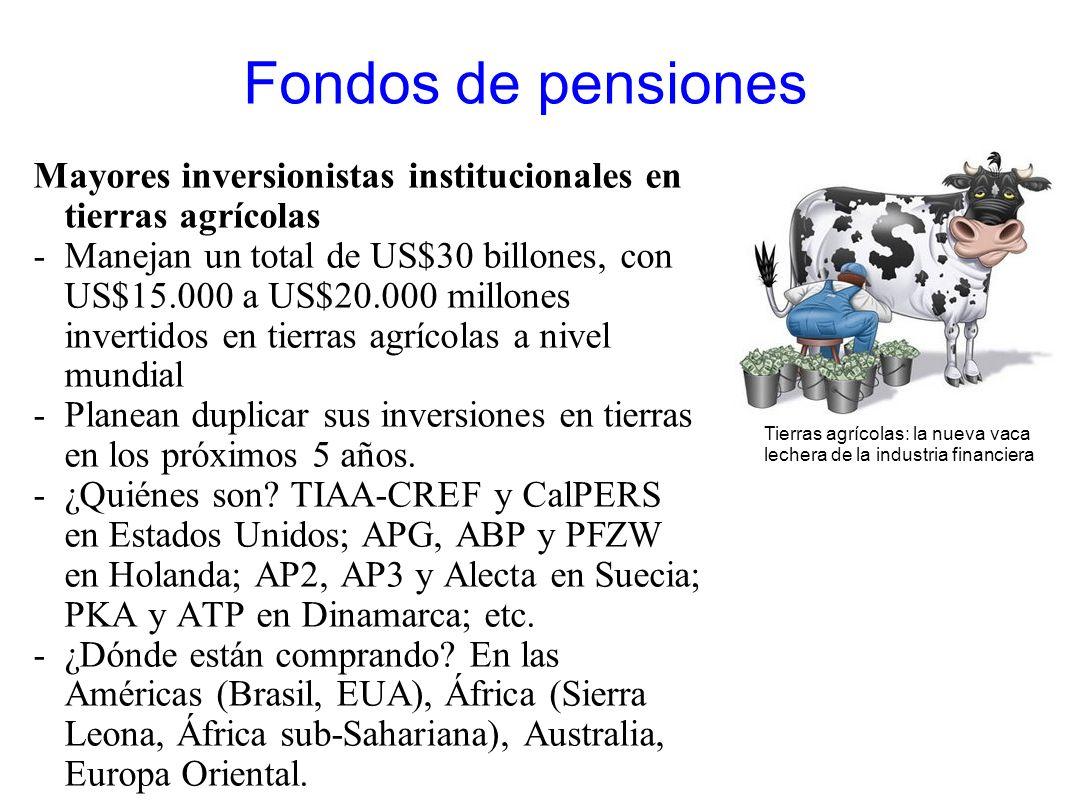 Fondos de pensiones Mayores inversionistas institucionales en tierras agrícolas -Manejan un total de US$30 billones, con US$15.000 a US$20.000 millone