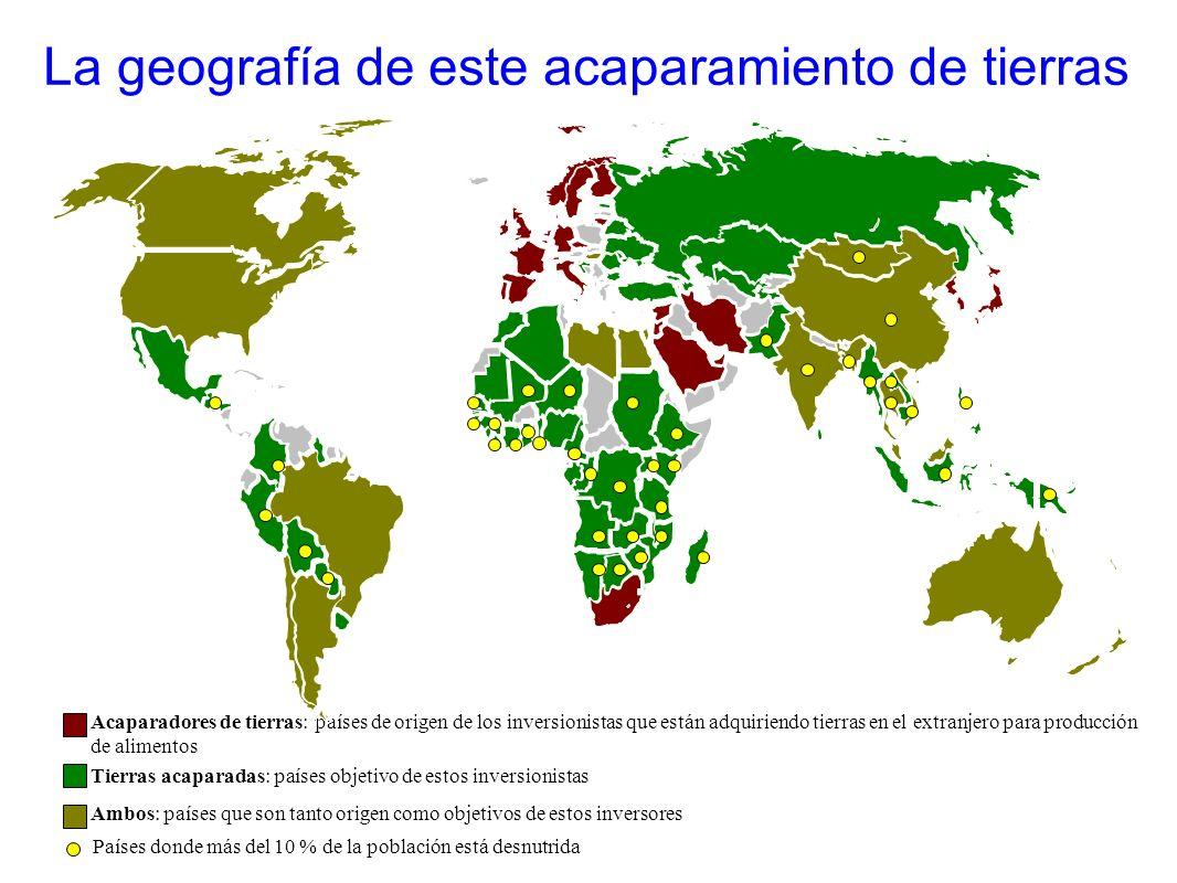 Acaparadores de tierras: países de origen de los inversionistas que están adquiriendo tierras en el extranjero para producción de alimentos Tierras ac