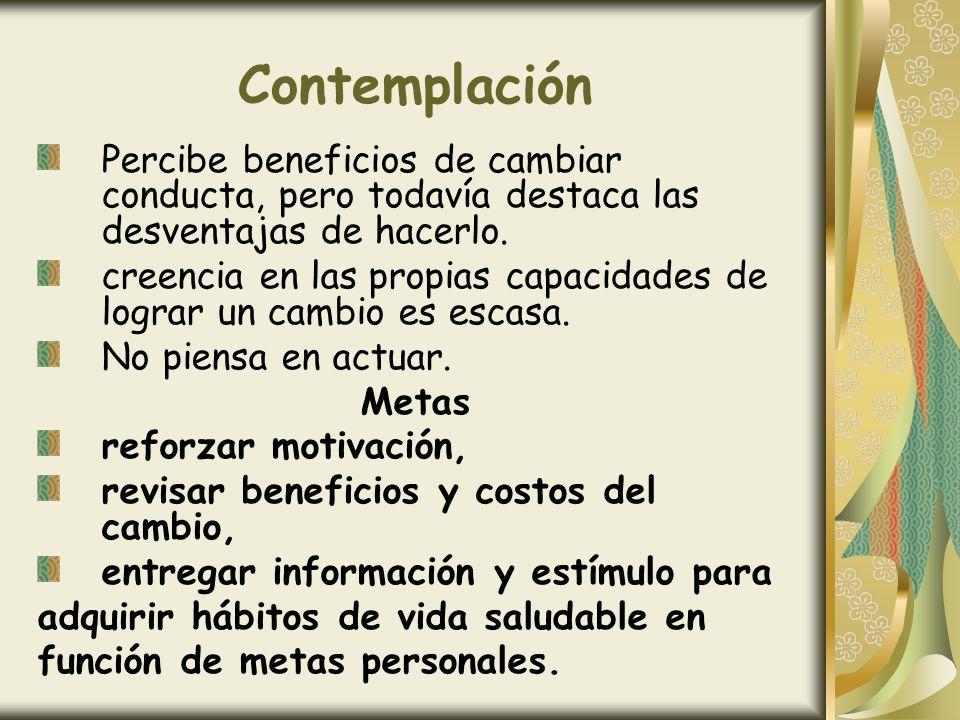 Contemplación Percibe beneficios de cambiar conducta, pero todavía destaca las desventajas de hacerlo. creencia en las propias capacidades de lograr u