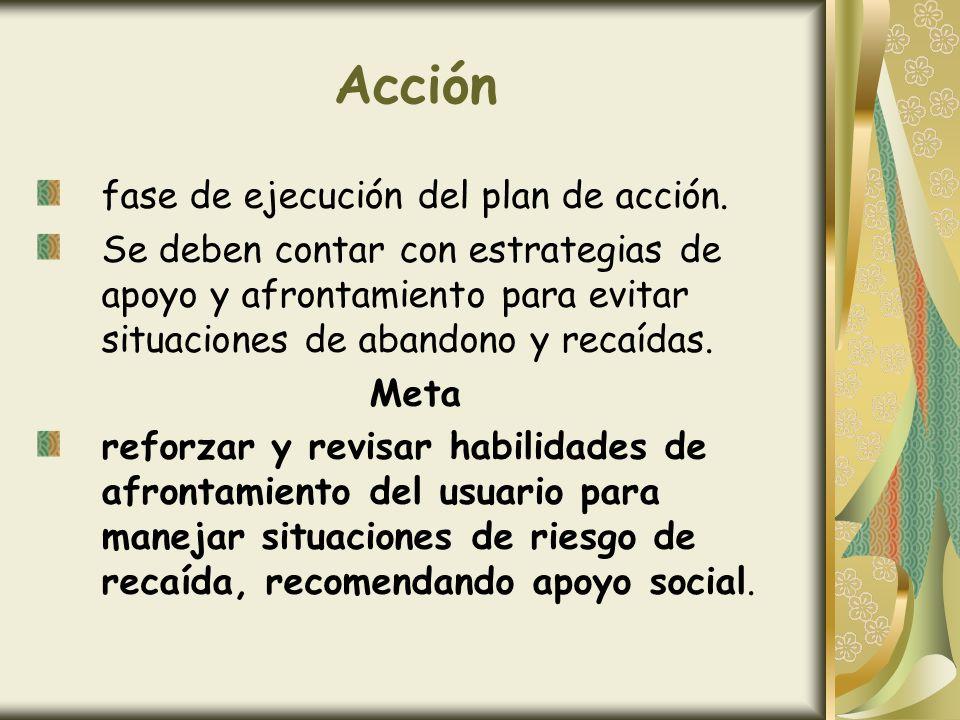 Acción fase de ejecución del plan de acción. Se deben contar con estrategias de apoyo y afrontamiento para evitar situaciones de abandono y recaídas.