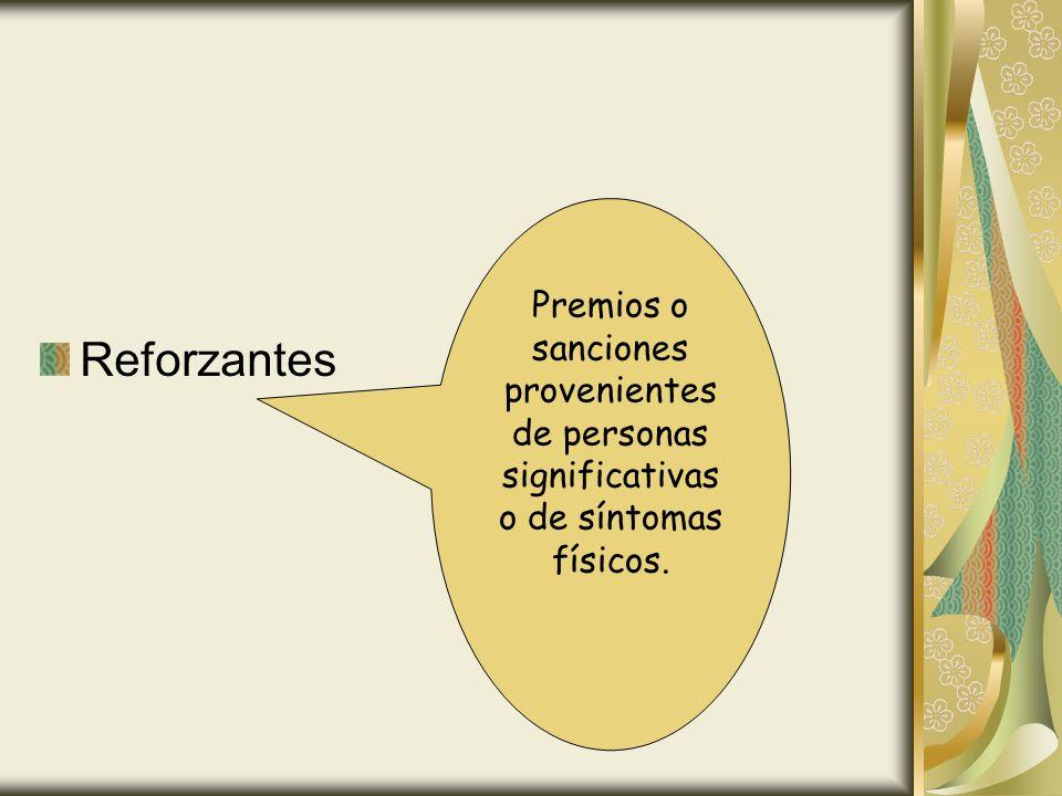 Reforzantes Premios o sanciones provenientes de personas significativas o de síntomas físicos.