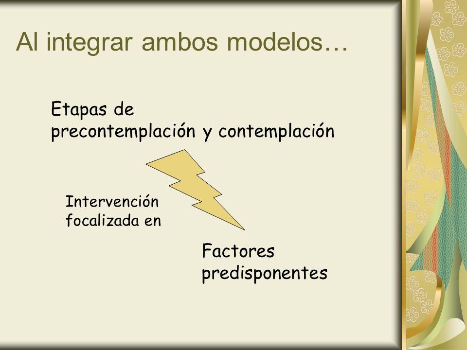 Al integrar ambos modelos… Etapas de precontemplación y contemplación Factores predisponentes Intervención focalizada en