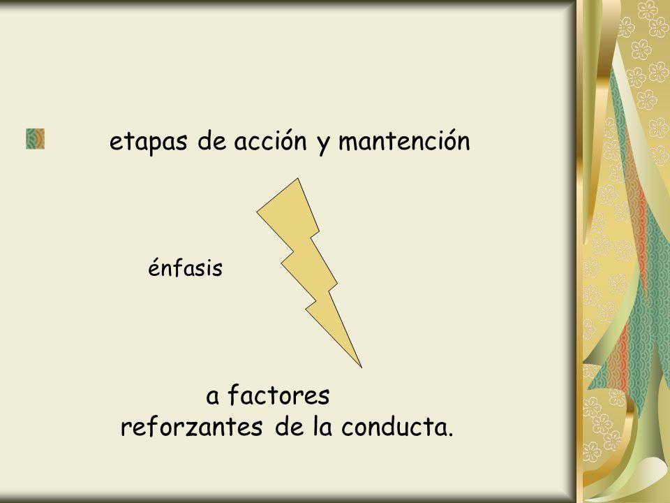 etapas de acción y mantención a factores reforzantes de la conducta. énfasis